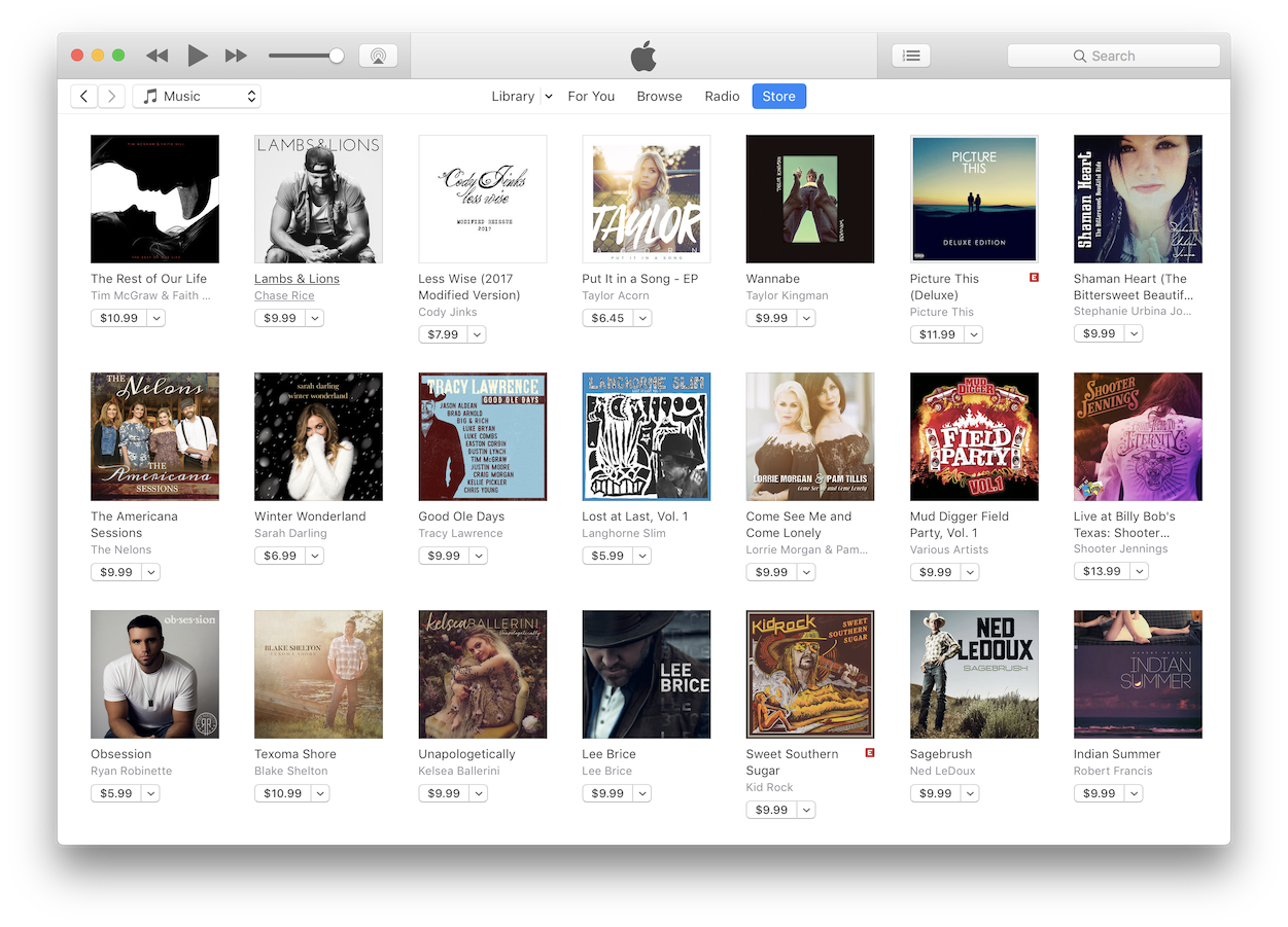 A screenshot of the iTunes Country genre section where the album art for all the new releases looks exactly the same
