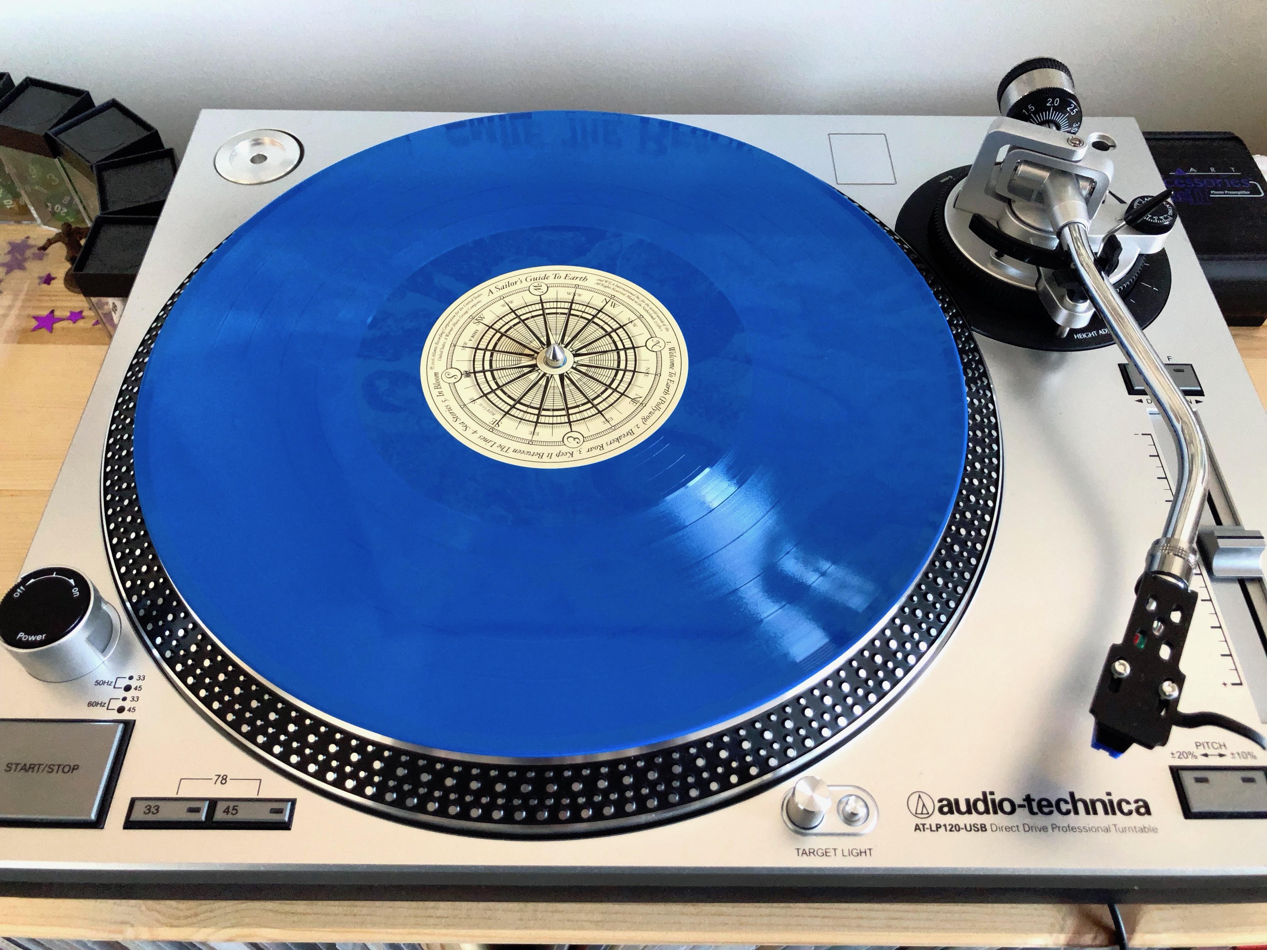 Ocean blue vinyl disk