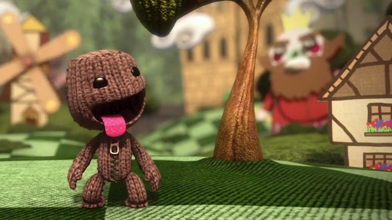 Sackboy smiling with his tongue out