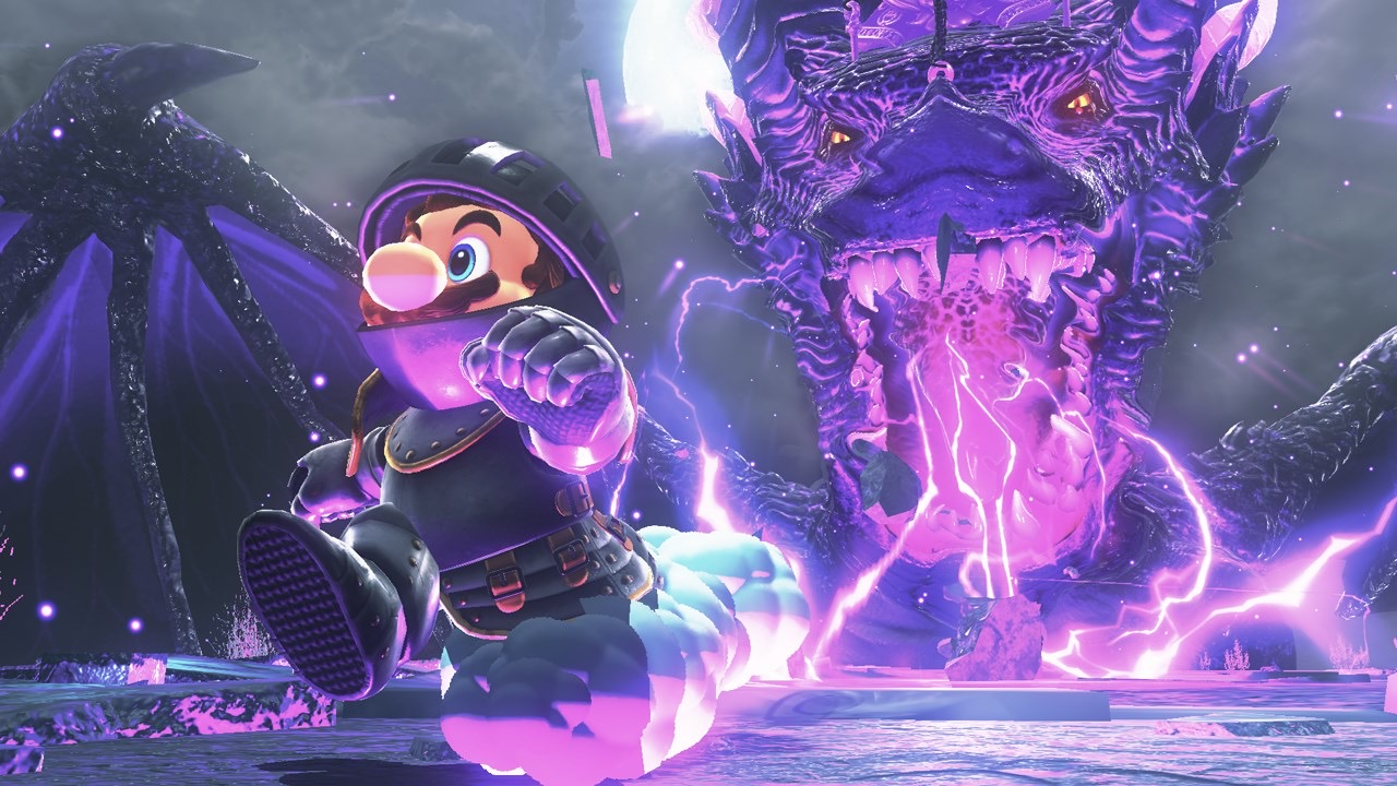 Mario running away from a fire breathing dragon