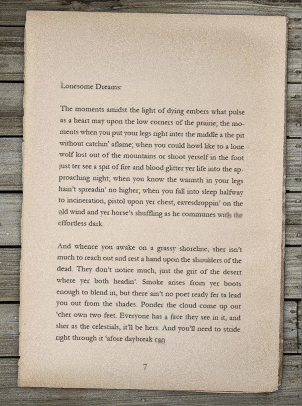 Page 7 of the *Lonesome Dreams* adventure novel